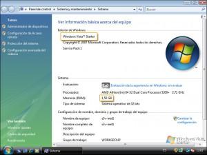 Propiedades del sistema Windows Vista Starter