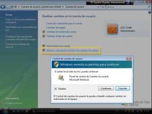 Control de Cuentas de Usuario UAC Windows Vista Starter