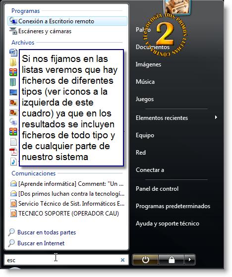 Resultados de búsqueda de Windows Desktop Search para Windows Vista
