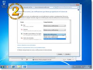 Windows 7 - Opciones del área de notificación