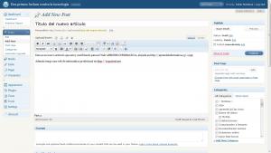 Wordpress añadir nuevo post