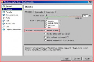 Activar APIC en VirtualBox