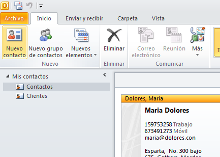Outlook 2010 - Crear contactos