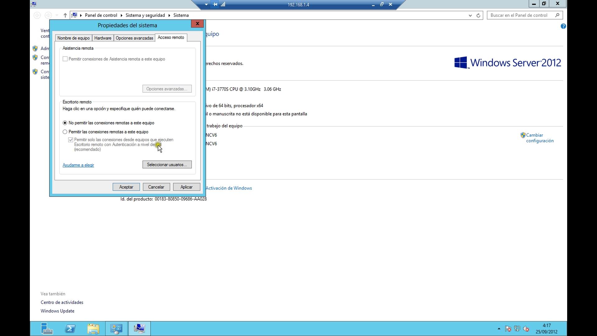 Windows server 2012 activar y desactivar el escritorio - Activar escritorio remoto windows xp ...