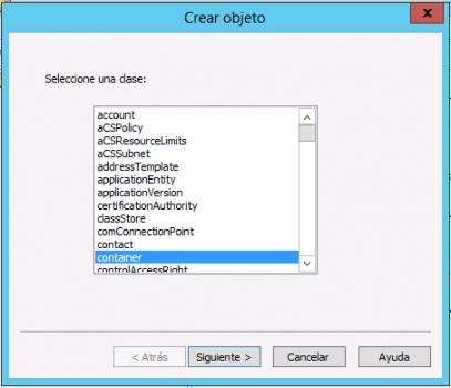 ADSI Edit - Crear contenedor