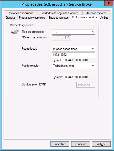 Regla firewall para SQL