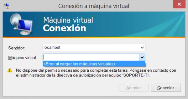 Conexión a máquina virtual de  Hyper-.V