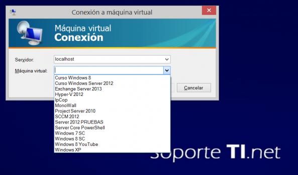 Conexión a máquina virtual de Hyper-V