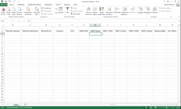 Inventario equipos - Excel 2013