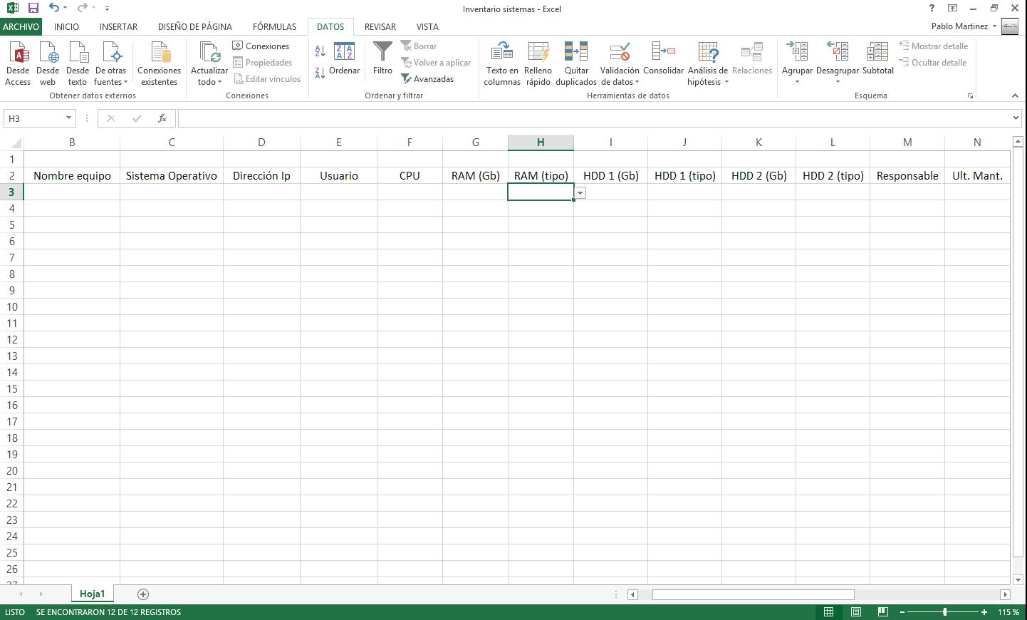 Excel para inventariado de equipos - ¿Quieres aportar?