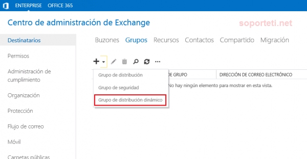Exchange Server 2013 - Grupo de distribución dinámico