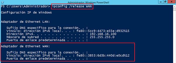 ipconfig /release WAN