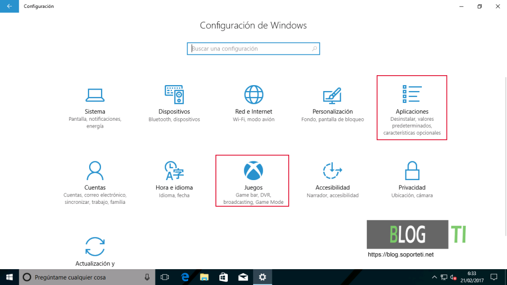 Configuraciones - Windows 10 Creators Update