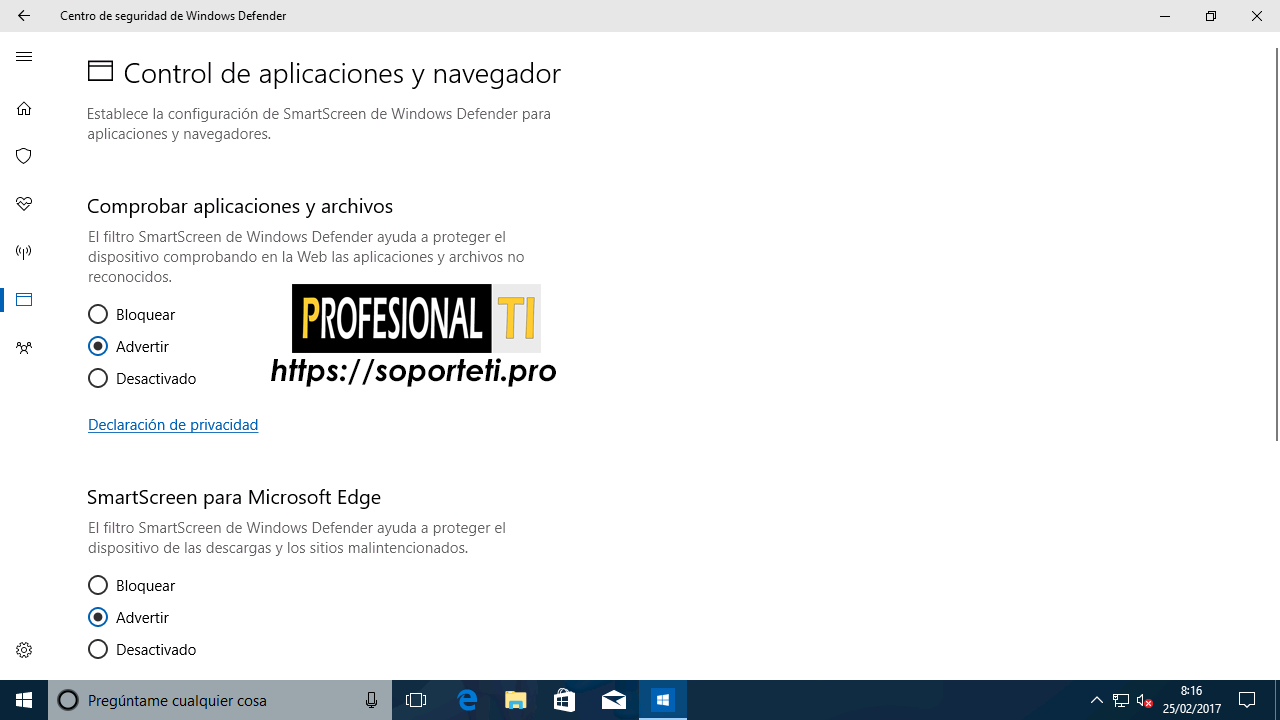 Centro de seguridad de Windows Defender - Windows 10 Creators Update