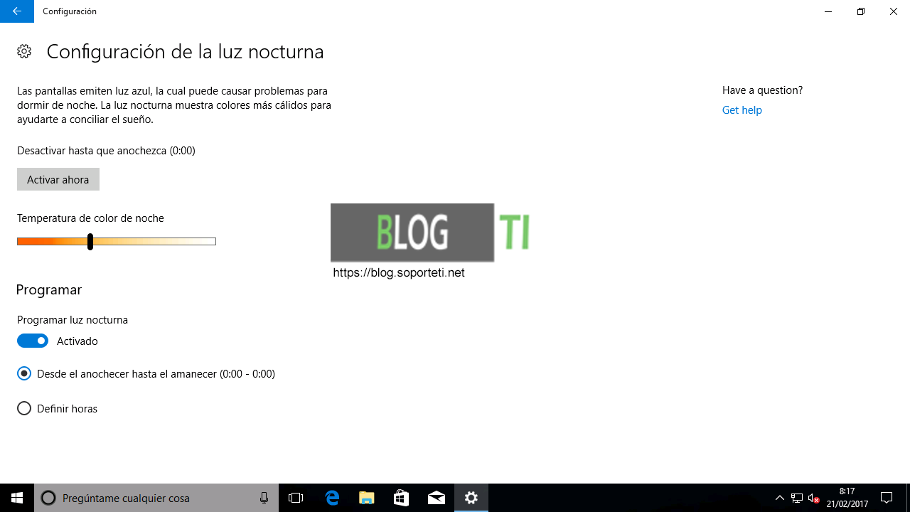 Luz Nocturna - Windows 10 Creators Update